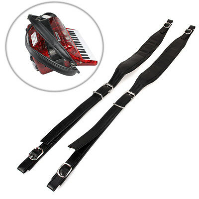 2x Thick 80 96 120 Bass Acoustic Electric Bass Accordion Leather Shoulder Straps