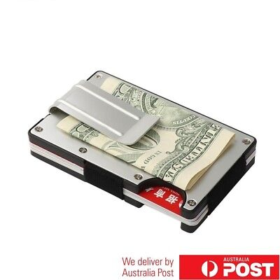 [AU STOCK] Metal Minimalist Wallet Credit Card Holder Money Note Clip Block RFID