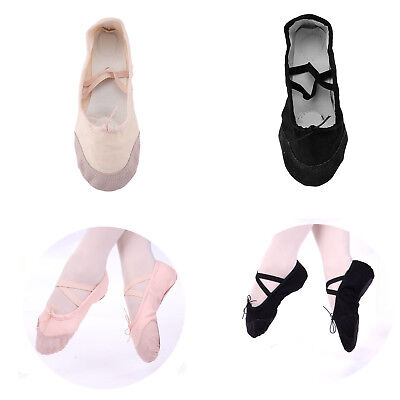 Canvas Ballet Dance Gymnastic Shoes For Adults And Children Size Black / Pink