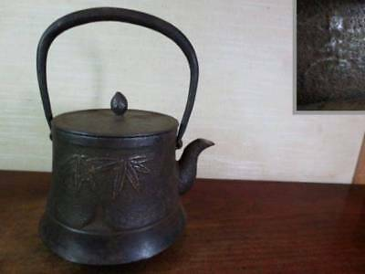 Japanese Antique KANJI old Iron Tea Kettle Tetsubin teapot Chagama 2298