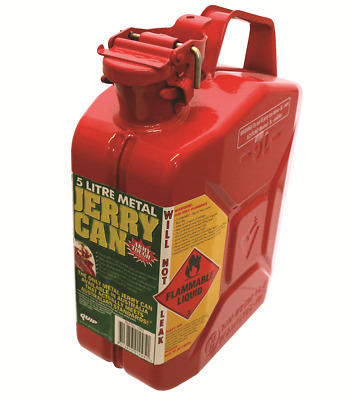 Pro Quip METAL FUEL JERRY CAN 125x230x305mm 5L Rust Proof RED *Australian Made