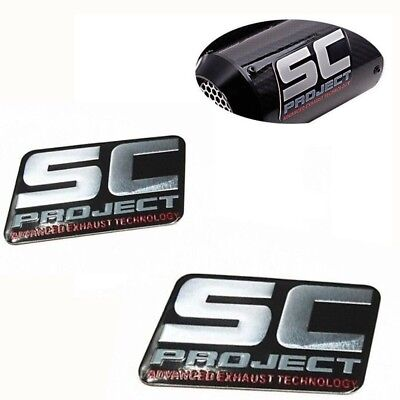 2pcs SC Motorcycle Exhaust Pipes Sticker Aluminium Decal Scooter Muffler Racing