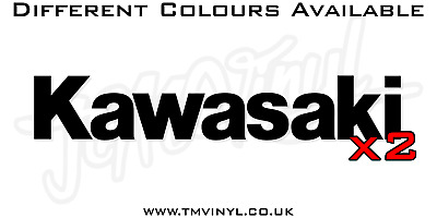 2 X Kawasaki Logo Stickers / Decals - Different Colours Available