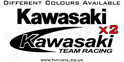 4 Piece Team Kawasaki Logo Stickers / Decals Set - Different Colours Available