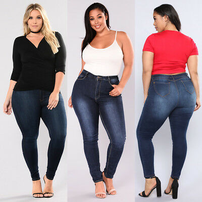 AU Women's Plus Size Stretch Denim Skinny Jeans Pencil Pants High Waist Trousers