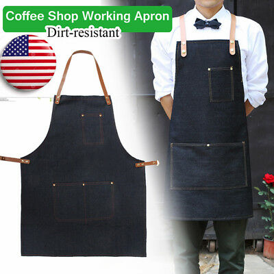 US Unisex Working Clothes Denim Apron Barista Pockets Chef Coffee Shop Straps