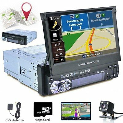 "1 DIN Single 7"" Touch Screen Car MP5 GPS Player Bluetooth Radio Camera Sat NAV"