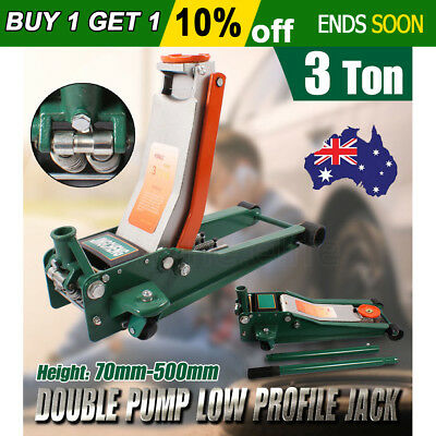 New 3 Ton 3T Hydraulic Floor Jack Low Profile Double Pump Trolley Lifting 3000kg