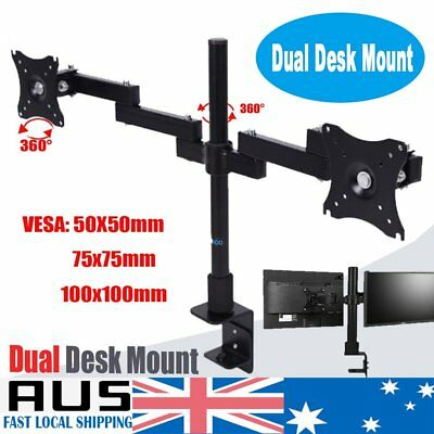 Dual Desk Monitor Stand Double Mount Bracket LED 2 Arms Holds Two LCD Screen