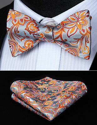 Red Orange Paisley Silk Self Bow Tie Butterfly Pocket Square Wedding Set#BP939NS