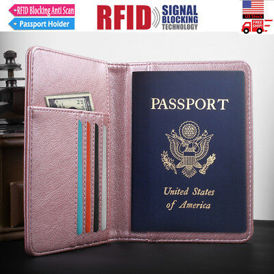 RFID Passport Credit Holder, Leather RFID Blocking Passport Case Card Cash Cover