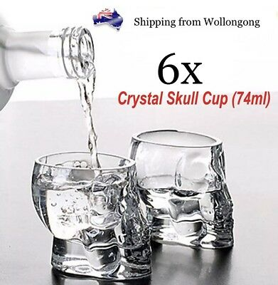 6x 3D Crystal Skull Head Shot Glasses Cup Vodka Whiskey Alcohol Drinking Party