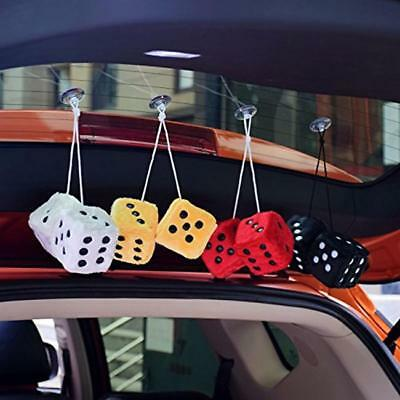 Soft Fluffy Furry Car & Home Hanging Mirror Spotty Dice lucky 4 Colors 2PCS LH