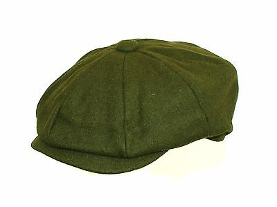 Brand New Men's Olive Green Melton Wool 8 Piece Gatsby Newsboy Flat Cap