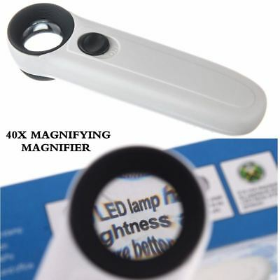 Portable Handheld 40X Magnifier Magnifying Glass Jewelry Loupe with 2-LED Light