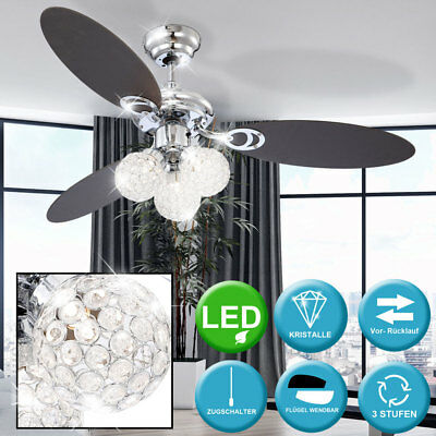 9W LED Decken Ventilator 3 Stufen Zugschalter Kristall Wohn Raum Big Light