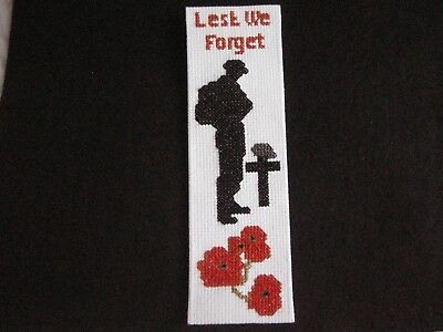 Handmade Completed Cross Stitch - Remembrance -  Book Mark