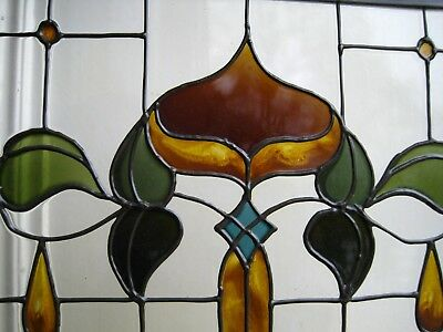 Hand painted  glass hanging panel.  Stained glass. Art Nouveau design.