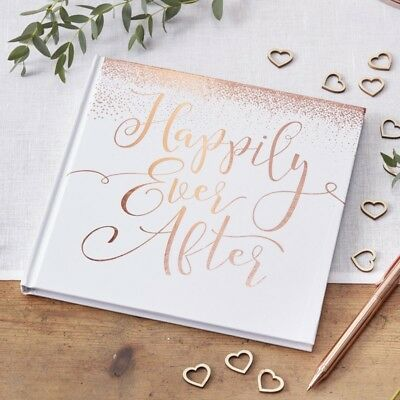 Rose Gold Guest Book  - Wedding keepsake - Happily Ever After