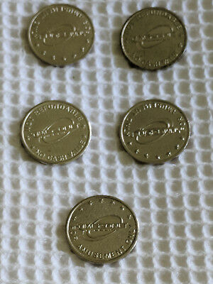 TimeZone bulk lot of 5 old Arcade Gaming machine tokens 24mm