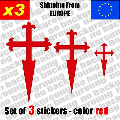 Set of 3 - St. James Santiago CROSS Vinyl Decal Sticker Aufkleber Die-Cut