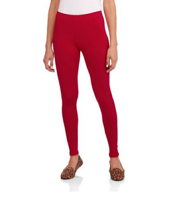 34d53e02f4337 Faded Glory RED Leggings Essential Knit Ankle Legging Valentine's Day NOBO