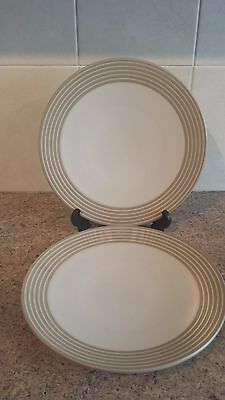 DENBY 'INTRO STRIPES' SAND DINNER PLATES  x  2 (8 available)