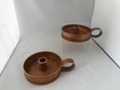 Matching Pair of Antique Arts & Crafts Copper Chamber Candle Stick/ Candlesticks