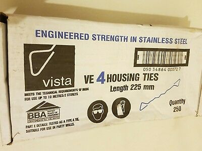 Vista VE4 HOUSING WALL TIE TIES Stainless Steel Length 225mm - Quantity 250