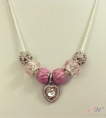 925 Silver Plated 3mm Snake-chain Charm Necklace - Pink & Silver Charms/ murano