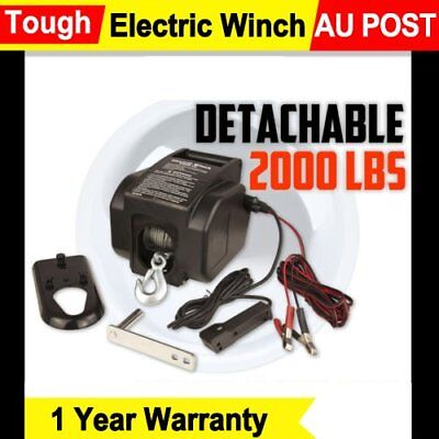 12V 2000LBS / 907kg Detachable Portable Electric Winch Marine Boat 4WD ATV