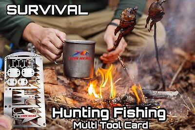 .EDC 24-1 Hunting Fishing Wilderness Survival Card Tools Snare Locks Hooks