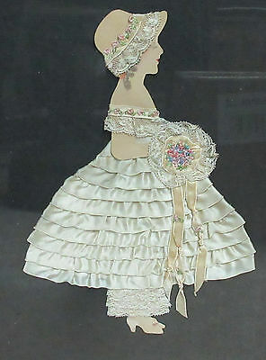 Deco 1930's Ecru Ribbon Doll Picture - Embroidery - Framed