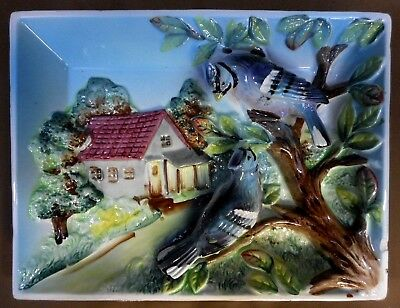 Kitsch Blue Jay Birds Cottage 3-D Wall Plaque Vintage Hanging Art Japan 8.5x6.5