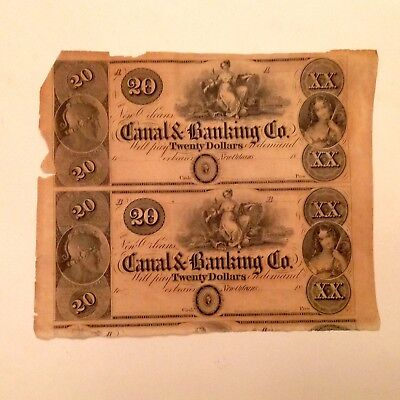 - 1840's Canal & Banking Co. of New Orleans Louisiana Uncut Sheet of 2 $20 notes