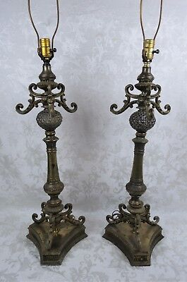 Pair of Large Antique Vintage Ornate Brass and Glass Art Nouveau Table Lamps