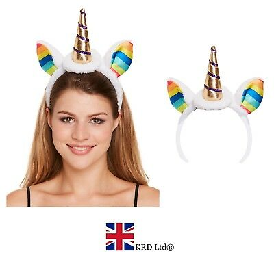 MAGICAL GOLD UNICORN EARS HEADBAND Fancy Dress Horn Rainbow Ladies Kids Girls UK