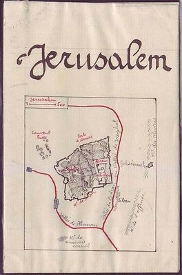 Hand Made Jerusalem old city map Israel Palestine Attached to a postcard Judaica