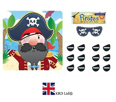 14Pc STICK THE EYE PATCH ON THE PIRATE GAME Kids Bday Party Pin Tail Activity UK