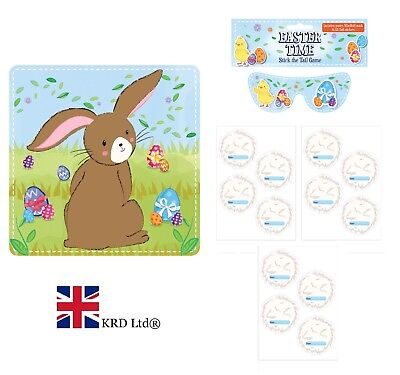 14Pc STICK THE TAIL ON THE BUNNY GAME Kids Birthday Party Pin Easter Activity UK