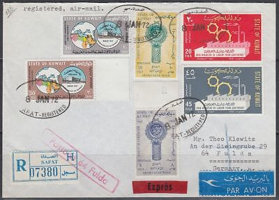 1972 Kuwait Express-R-Cover to Germany, SAFAT R-label and cds [bl0364]
