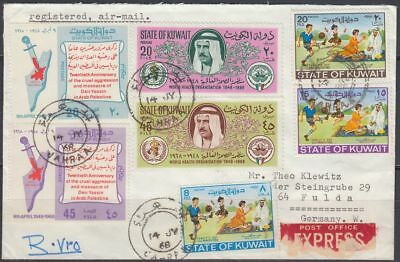 1968 Kuwait Express-R-Cover to Germany, JAHRAA cds, handwritten R-label [bl0366]