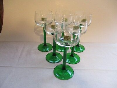 Set Of Six Luminarc Crystal Wine Glasses ~ Green Stems ~ New With Tags