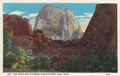 Linen Postcard B004 The Great White Throne Zion National Park Utah Wasatch Range