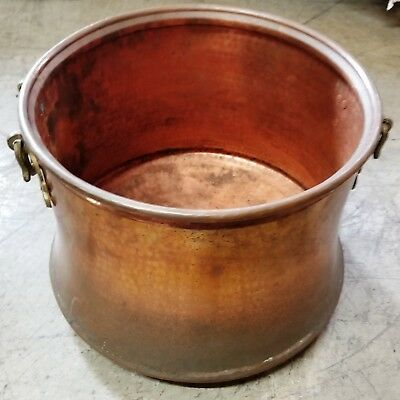 Large Vintage Copper Fireplace Wood Bucket/Pail with Handles 18x15
