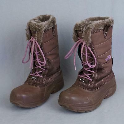 31c6ef002 GIRL'S NORTH FACE Waterproof Brown Pink Laces Winter Snow Boots Youth Size  5 GUC