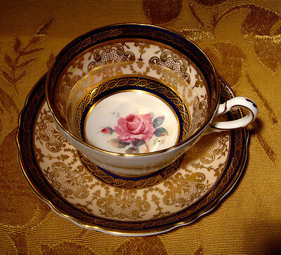Vintage Paragon Fine Bone China Tea Cup & Saucer Rose Cobalt Blue & Gold A866