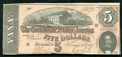 (5) Consecutive 1864 $5 Csa Confederate States Of America Notes About Unc
