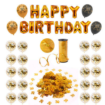 Happy 30th Birthday Party Supply Gold Confetti Balloons Set Hanging Decoration