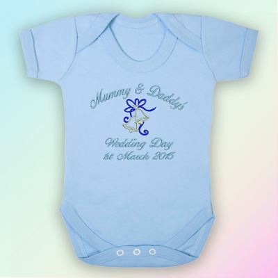 Mummy & Daddy's Wedding Day Embroidered Baby Vest Gift Personalised Mum Dad